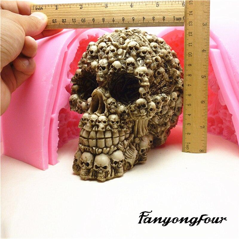 Super Skull fondant เค้กแม่พิมพ์แม่พิมพ์ซิลิโคนแม่พิมพ์ช็อกโกแลตสบู่สบู่เทียนเครื่องมือจัดส่งฟรี-ใน แม่พิมพ์เค้ก จาก บ้านและสวน บน   1