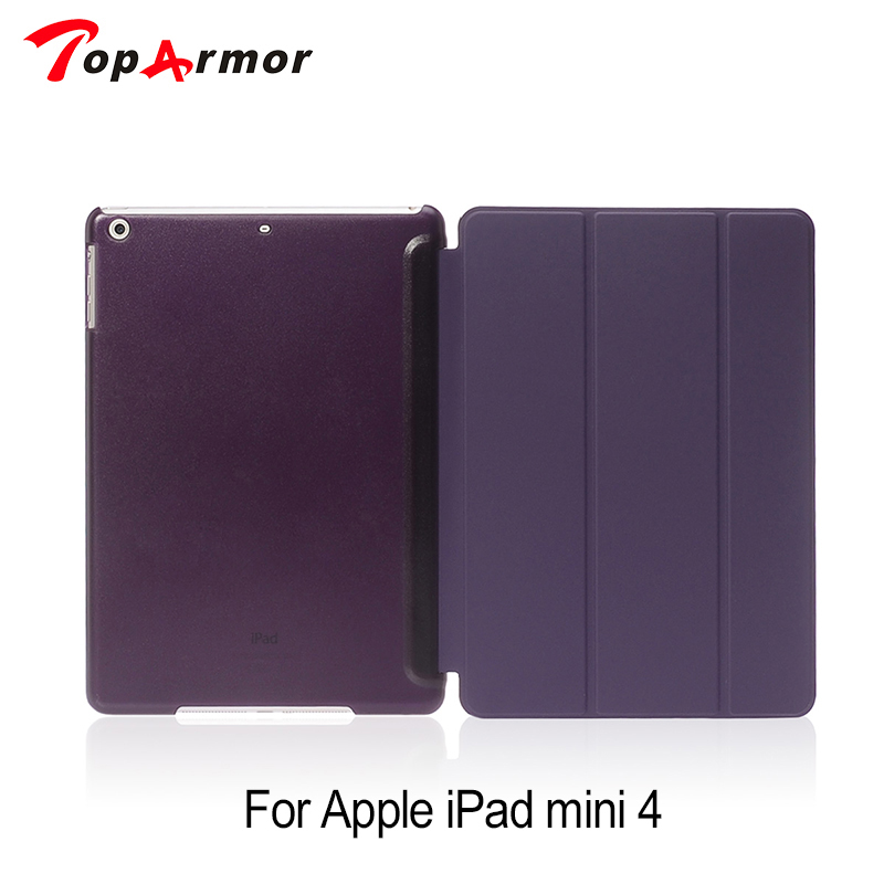 TopArmor Magnetic Smart Cover For iPad Mini 4 Premium Quality Folding Design Ultra-thin PU Leather Case Mini4 for ipad mini4 cover high quality soft tpu rubber back case for ipad mini 4 silicone back cover semi transparent case shell skin
