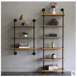 Modern Simple Iron Art Book Shelf Living Room Solid Wood Wall Hanging Receiving Shelf Household Decoration Ground Display Shelf