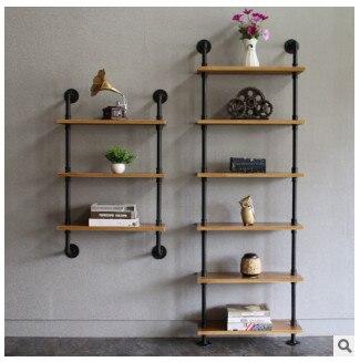 Moderne Simple fer Art livre étagère salon en bois massif tenture murale réception étagère décoration domestique sol présentoir