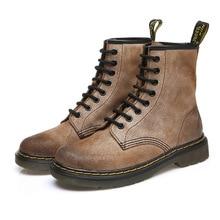 Осенне-зимняя обувь Новые мужские ботинки «мартенс» кожа Британский ретро обувь на плоской подошве ботинки для операций в пустыне Пеший Туризм обувь