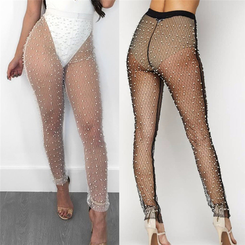 Sexy Women Beach Fishnet Pants Bikini Cover Up Summer Pearl See Through Tight Trousers Swimsuit Transparent Pants Beach Cover Up