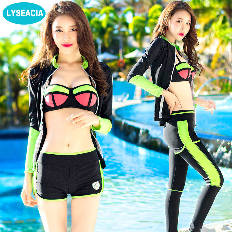LYSEACIA Four Piece Wetsuit for Women Surfing Diving Suit Long Sleeve Rash Guards Zipper Coat + Halter Bikinis + Swimming Pant цена