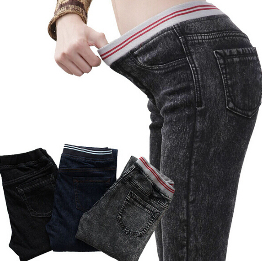 Plus Size 6XL Elastic Waist Women Jeans Slim Fit Vintage Elastic Cotton Skinny Pencil Pants Big Long Trousers Autumn/Spring 2017 colorful brand large size jeans xl 5xl 2017 spring and summer new hole jeans nine pants high waist was thin slim pants