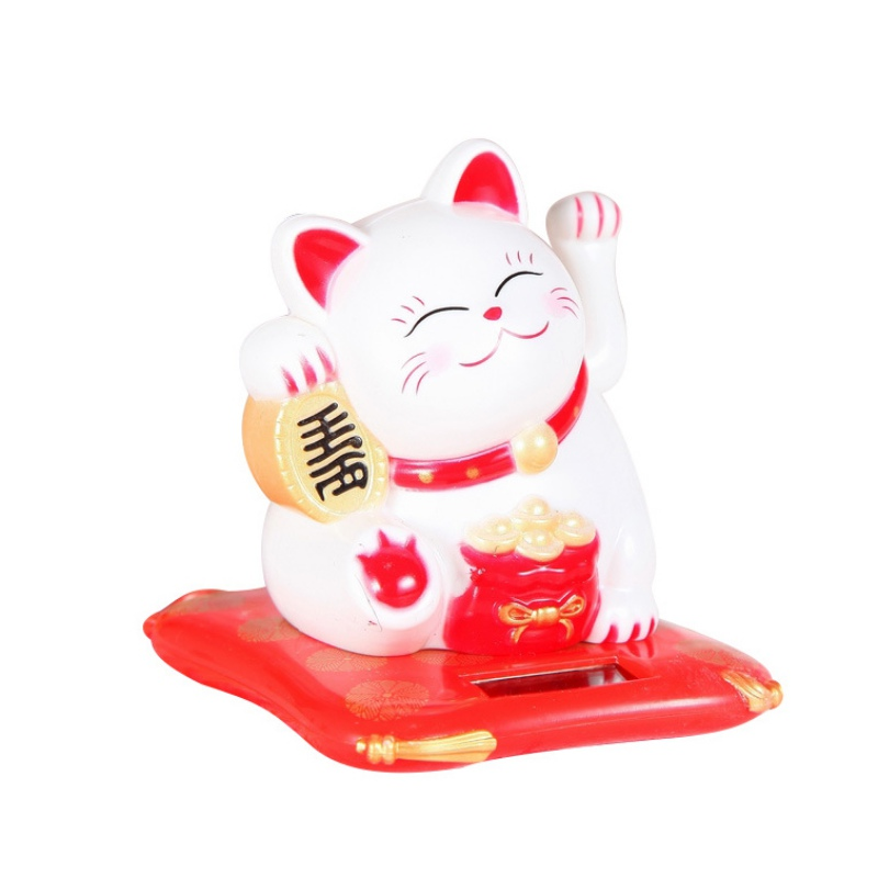 Small Hand Waving Lucky Cat Solar Powered Creative Texture Car Ornaments Fortune Crafts Figurines Miniatures Wealth Waving