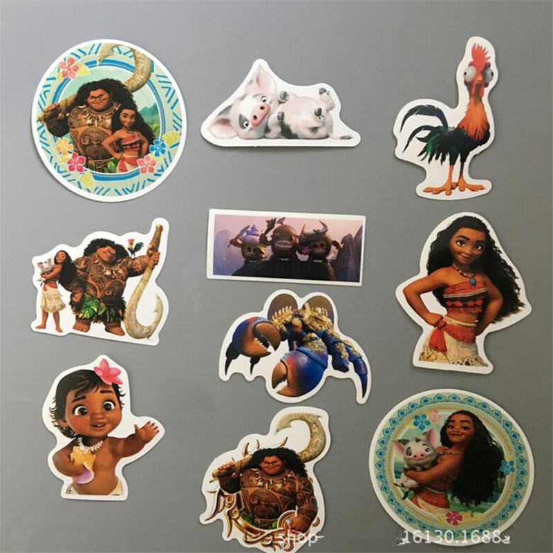10Pcs bag Vaiana Stickers moana Boneca Funny Sticker Decal For Car Laptop Bicycle Motorcycle Notebook Waterproof wall sticker in Stickers from Toys Hobbies