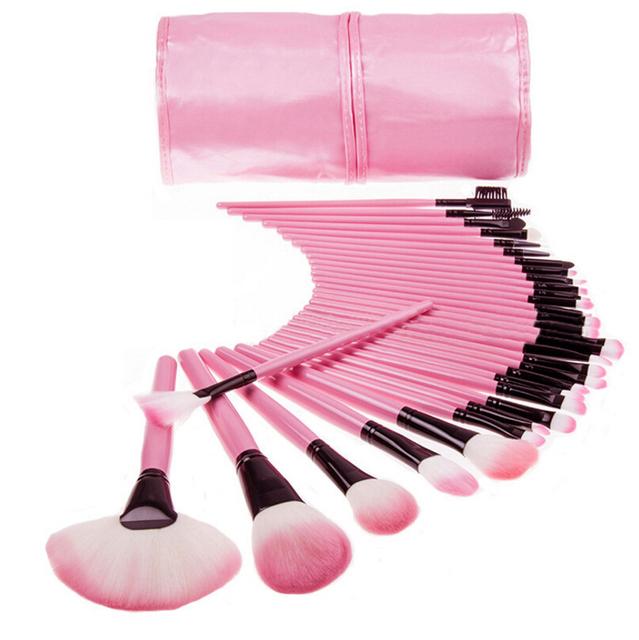 32 Pcs maquiagem profissional escova fundação olho sombra batom pó escova 32 Pcs maquiagem com saco de rosa