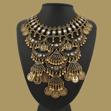 Multi layer necklace gold bohemian vintage coins style statement necklaces & pendants retro collar choker free shipping