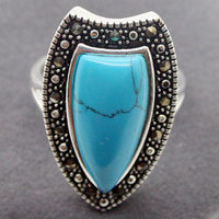 Real 26X14MM Blue Turquoise Marcasite 925 STERLING SILVER RING Size US 7 8 9 10 A