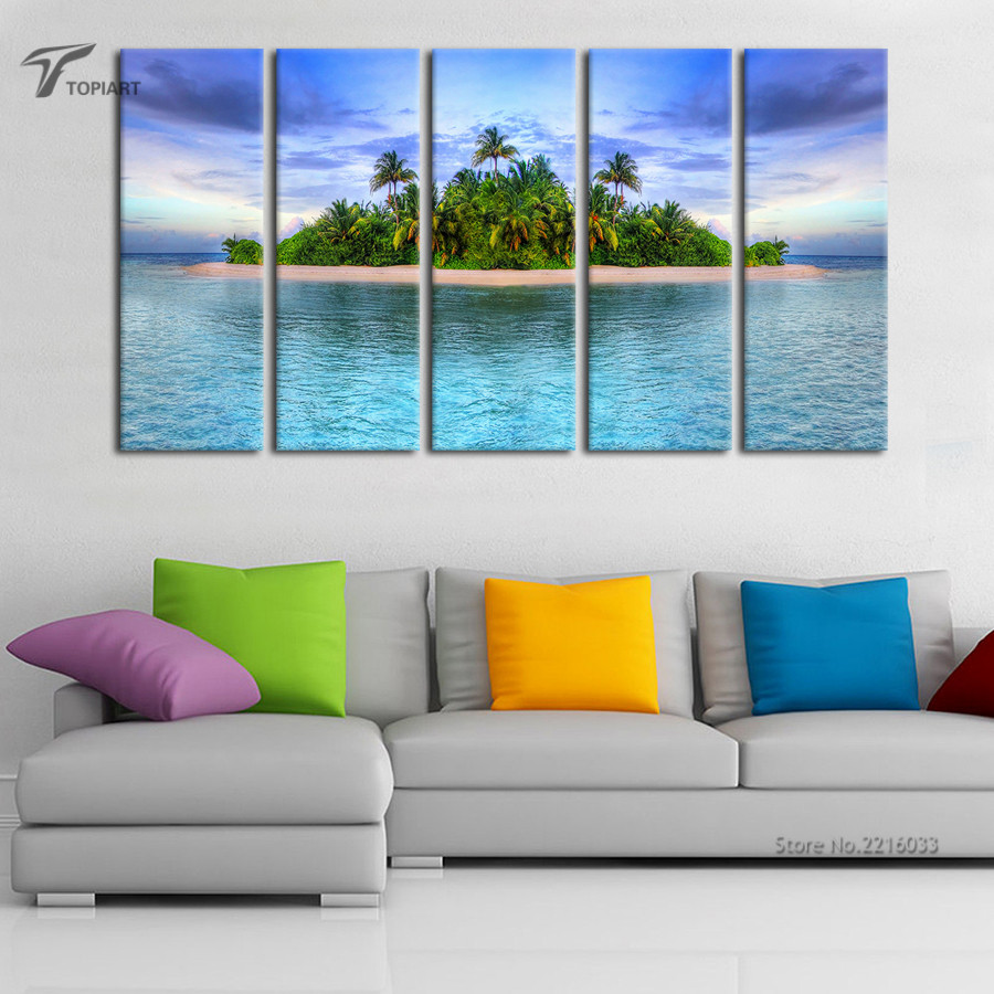 Tropical Wall Art aliexpress : buy 5 piece large wall art canvas tropical
