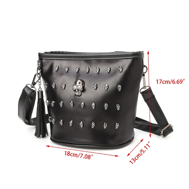 New 2018 Fashion Women Skull Punk Goth Tassel Messenger Shoulder Bag Crossbody Handbag