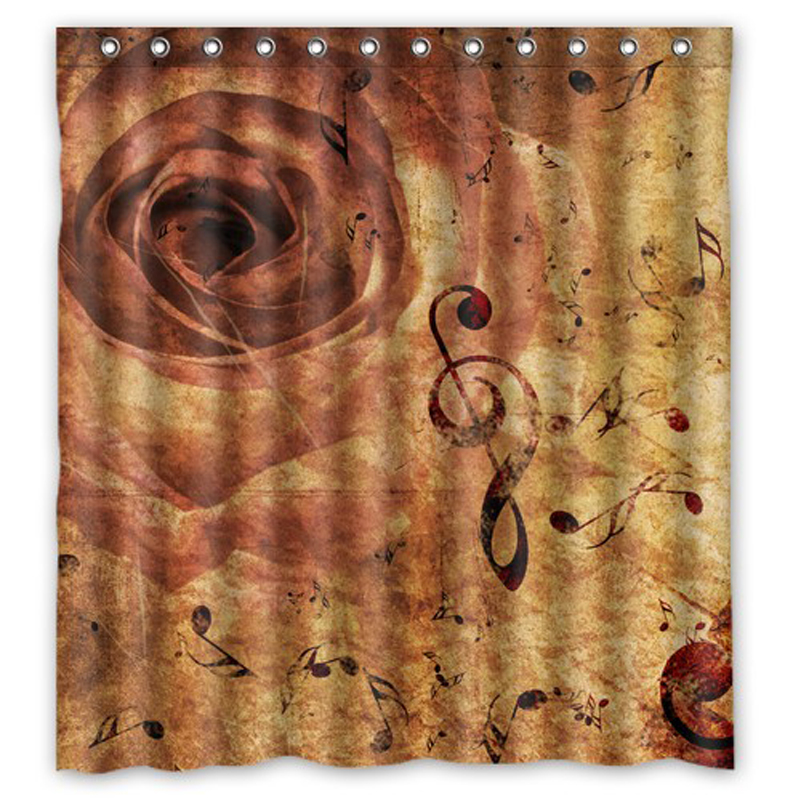 Classical Retro Music Note Roses Custom Waterproof Shower Curtain Bathroom  Products Curtains Size 48x72,60x72