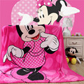Home textiles Children cartoon Pink Minnie pattern Coral fleece blankets bedclothes the throws