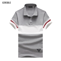 GOUHAI Mens Polo Shirt Brands M-5XL 94% Cotton 6% Spandex Mens Polo Shirts Striped Polo Shirts Men Short Sleeve Shirt Polo Men