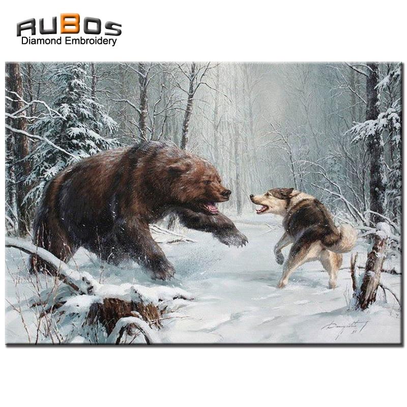 2576d30943e2 RUBOS costura de diamantes oso Lobo nieve DIY 5D diamante bordado lentejuelas  cristal completo patrón rhinestone animales en Pintura diamante de punto de  ...