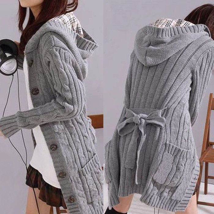Womens Gray Hooded Long Sleeve Cable Jumper Cardigan Sweater Coat ...