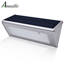 Solar Wall Lights Outdoor Aluminium Alloy 48 LED Microwave Radar Sensor Waterproof Energy Saving Lamp Lamps For Garden(China)