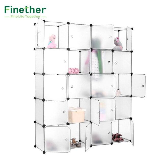Finether 20 Cube Interlocking Modular Storage Organizer Shelving System  Closet Wardrobe Rack With Doors For Home