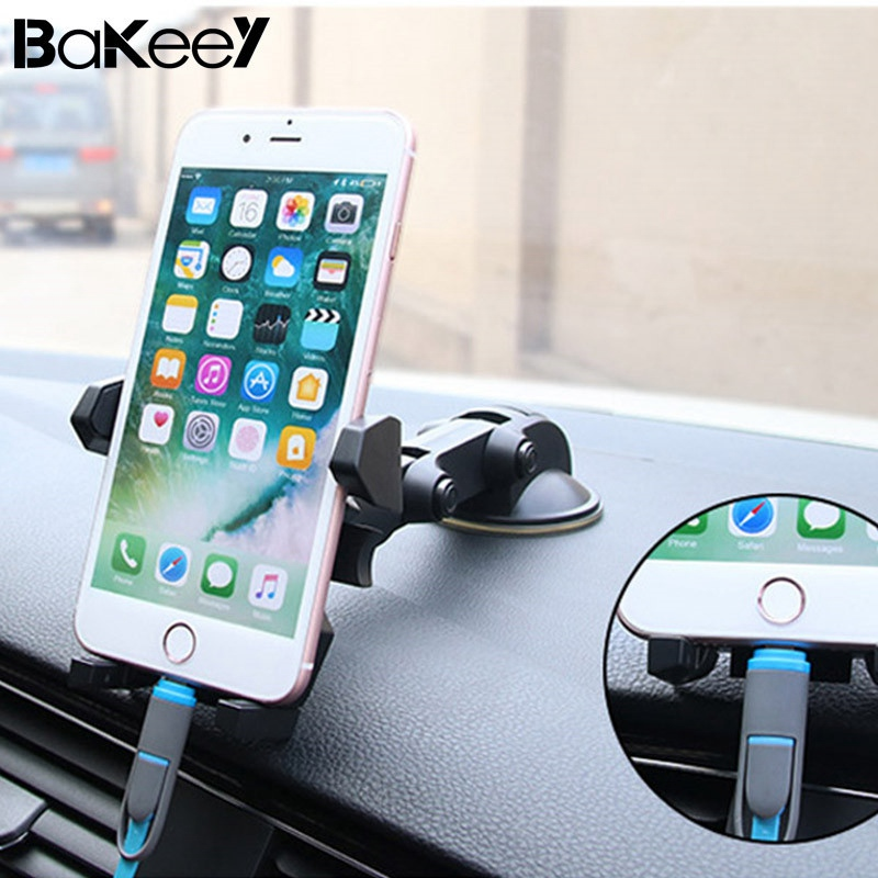 Universal Bakeey 360 Degree Rotation Suction Cup Car Phone Stand Cradle for Phone Under 6 inch Sale Car Air Vent Cradle stands
