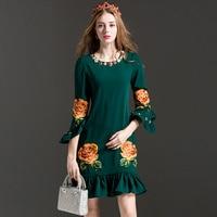 2017 Runway Style Womens Summer Dresses High Quality Fashion Woman Bead O Neck Flower Print Short