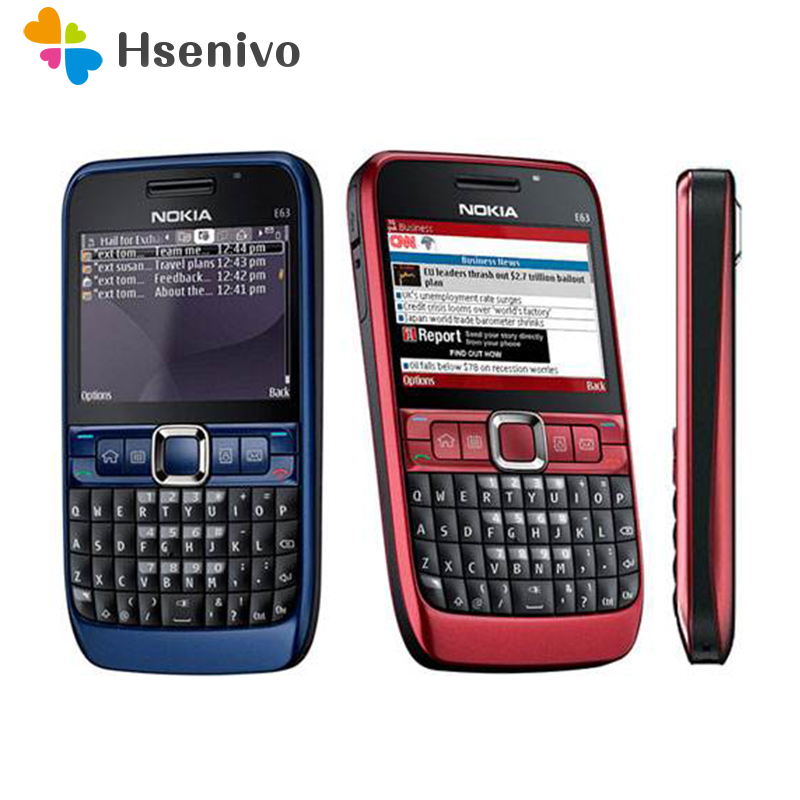 Original Phone E63 QWERTY Keyboard Mobile Phone Bluetooth Wifi FM Nokia E63 Cell Phone Refurbished