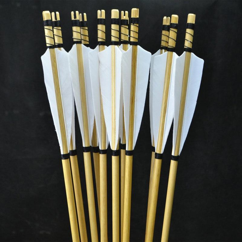 12x Handgjorda Wooden Arrows Turkiet fjäder för 25-50lbs Longbow - Jakt