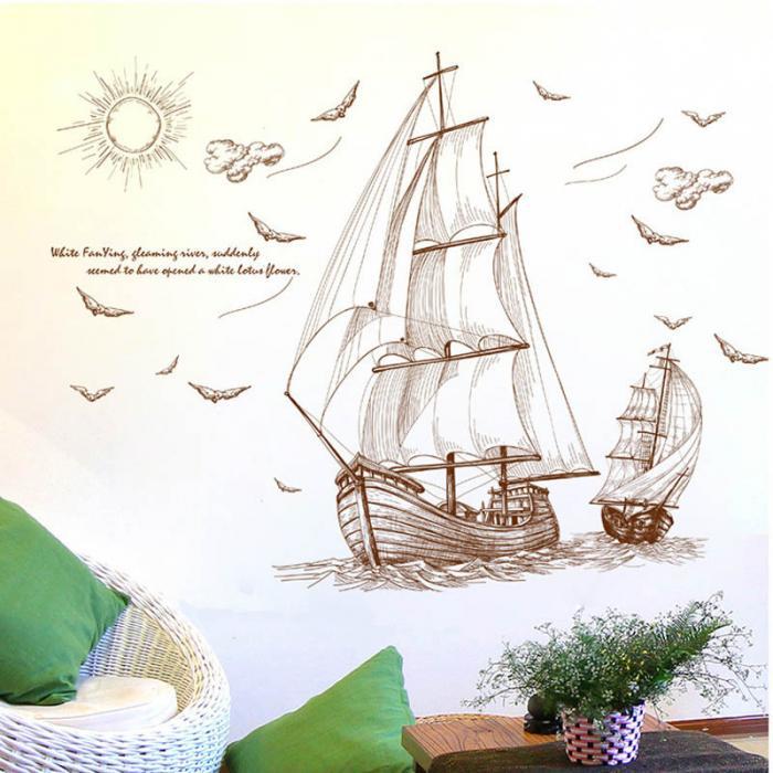 الكرتون القراصنة سفينة الإبحار ملصقات جدار للأطفال غرف الفتيان