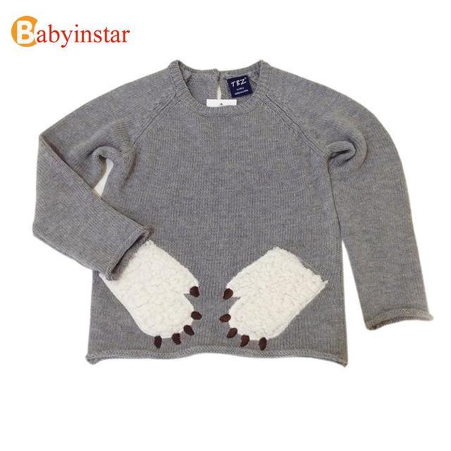 2016 nueva Primavera Niñas niños Suéter Ropa de Niños Vestido Infantil ropa de Sport de Patas de los Animales de Dibujos Animados Oso Ropa Del Bebé Suéteres