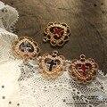 MRHUANG 10 teile/paket 20mm Hohl Herz Kreuz Emaille Charms Dekoration DIY Armband Schmuck Zubehör Gold-farbe