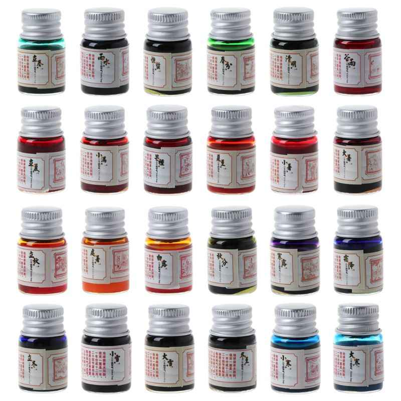 5ml Gold Powder Colored Ink For Fountain Dip Pen Calligraphy Writing Painting Graffiti Stationery Gift Office Supplies 24 Colors