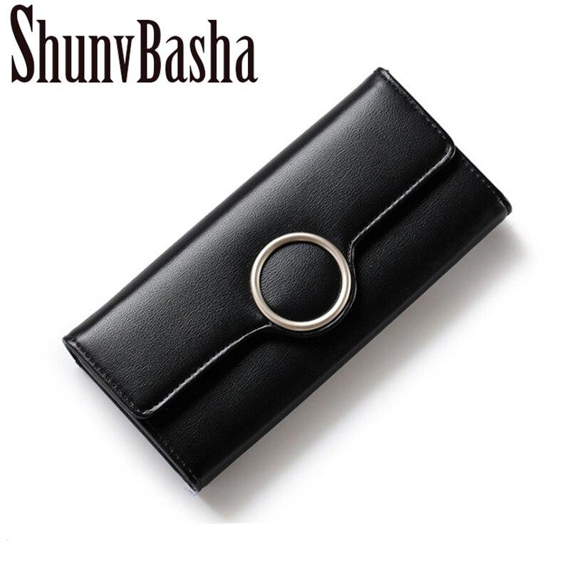 ShunvBasha Latest Elegant Women Leather Wallet Fashion Lady Portable Multifunction Long Solid Color Change Purse Female Cluch