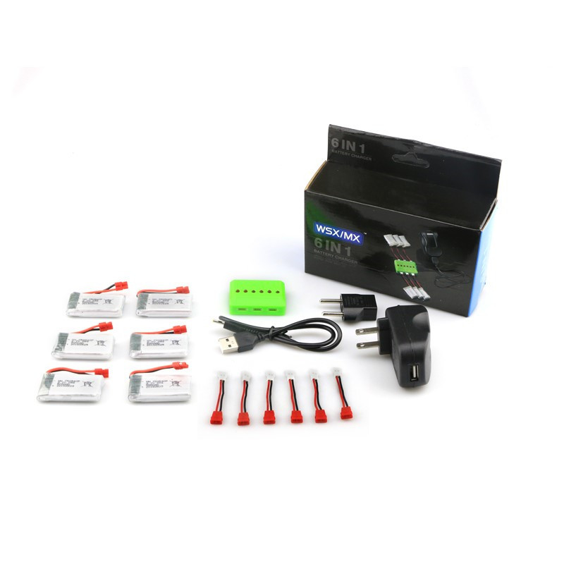 ФОТО Syma X5HC X5HW RC Quadcopter Spare Parts 6Pcs Battery And Charger Set X6A A12  For RC Camera Drone Helicopter Accessories