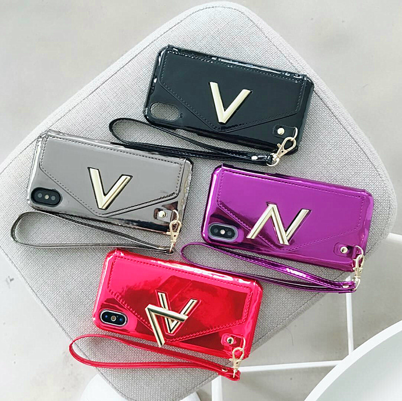 V N letters bright leather fashion Card package For iPhone 7 6 6S 8 Plus PU leather For iPhone X 10 Trendy phone bag