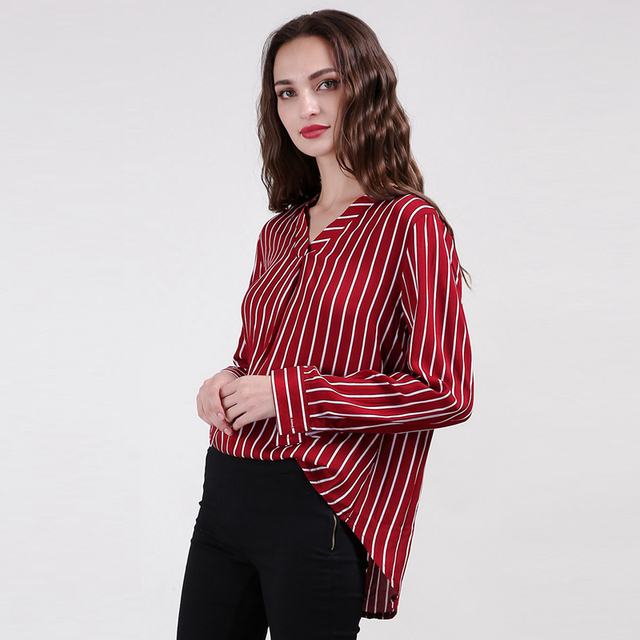 90bcba7b369d White red stripe long sleeve V neck high low shirts for women ladies autumn  spring basic OL formal loose shirts tops for work
