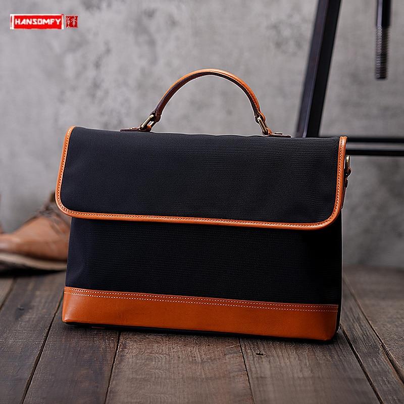 Handball Ballistic Nylon Leather Portable Men's Handbag Diagonal  Cowhide 15 Inch Laptop Briefcase Male Classic Messenger Bags