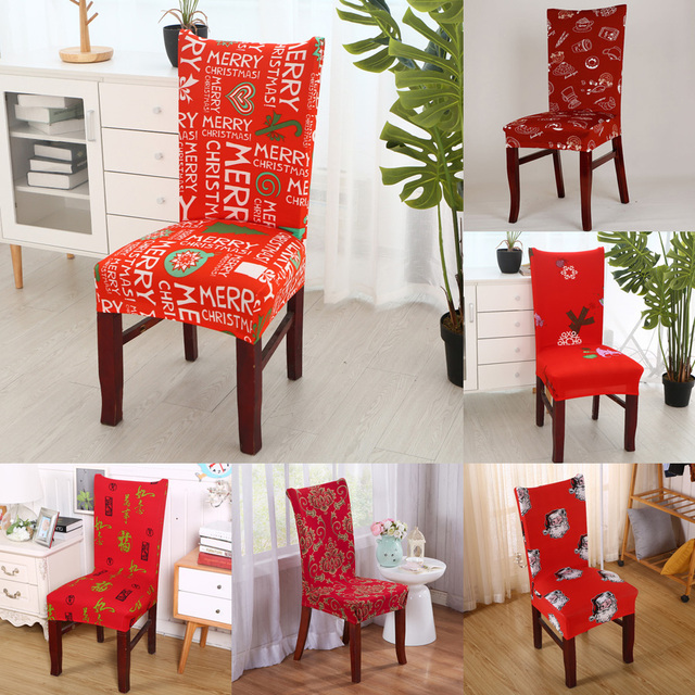 Chair Covers Modern Office For Tall Person Happy Merry Christmas Cover Floral Print Spandex Elastic Stretch Family Decoration