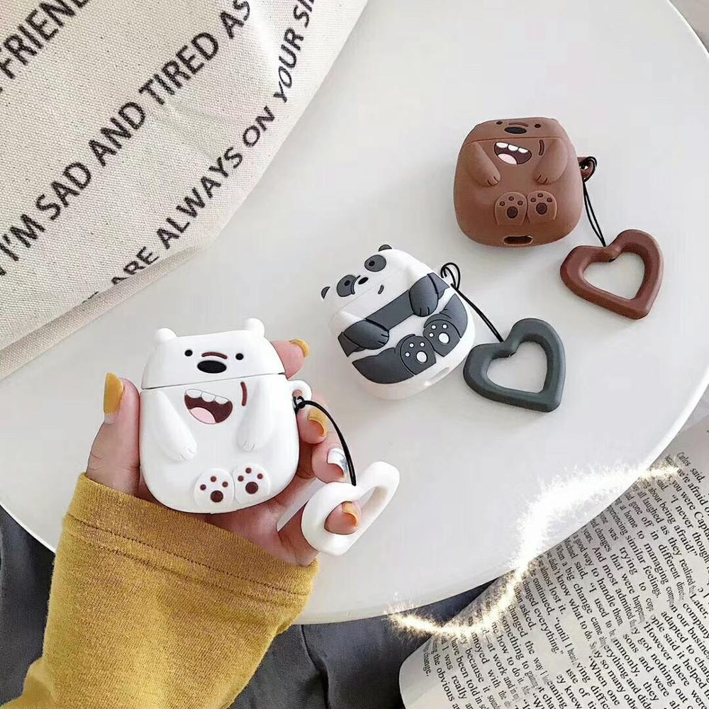 Cute 3D Bear Brother Cartoon Silicone Ring Lanyard  Wireless Earphone Charging Case For Apple AirPods 1 2 Bluetooth Accessories