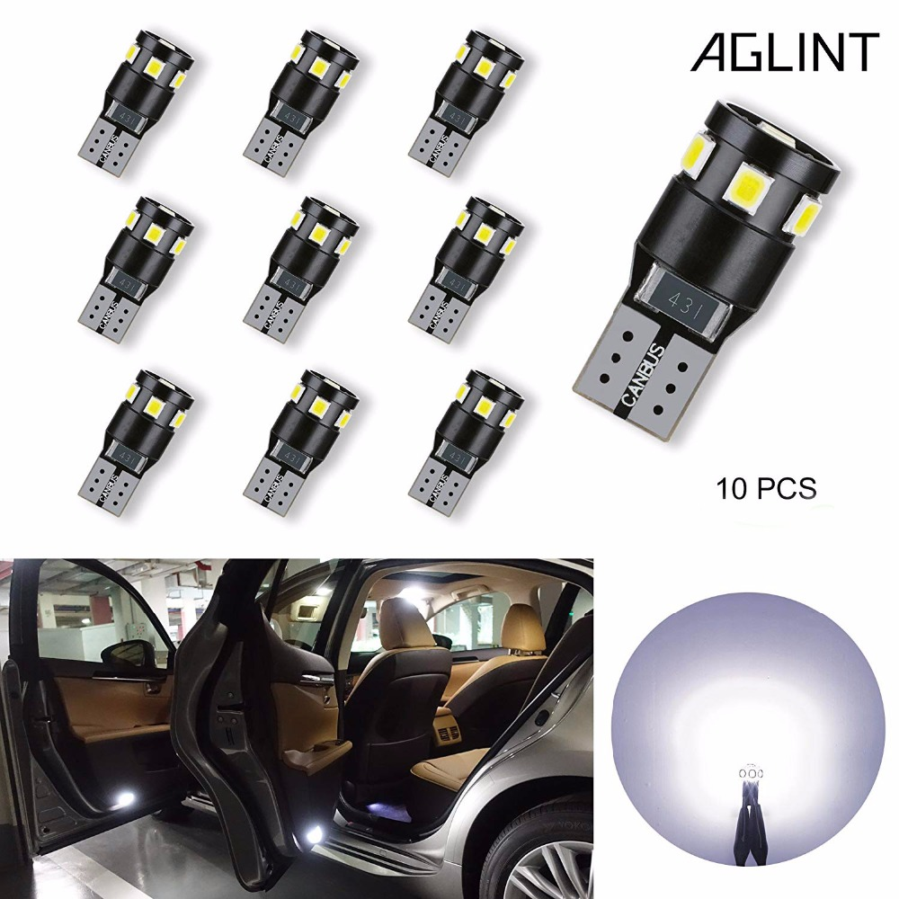 AGLINT 10pcs T10 Led Canbus No Error W5W 194 168 2825 9-SMD 2835 For Car Dome Map Door Trunk License Plate Lights White 13pcs canbus car led light bulbs interior package kit for 2006 2010 jeep commander map dome trunk license plate lamp white page 3