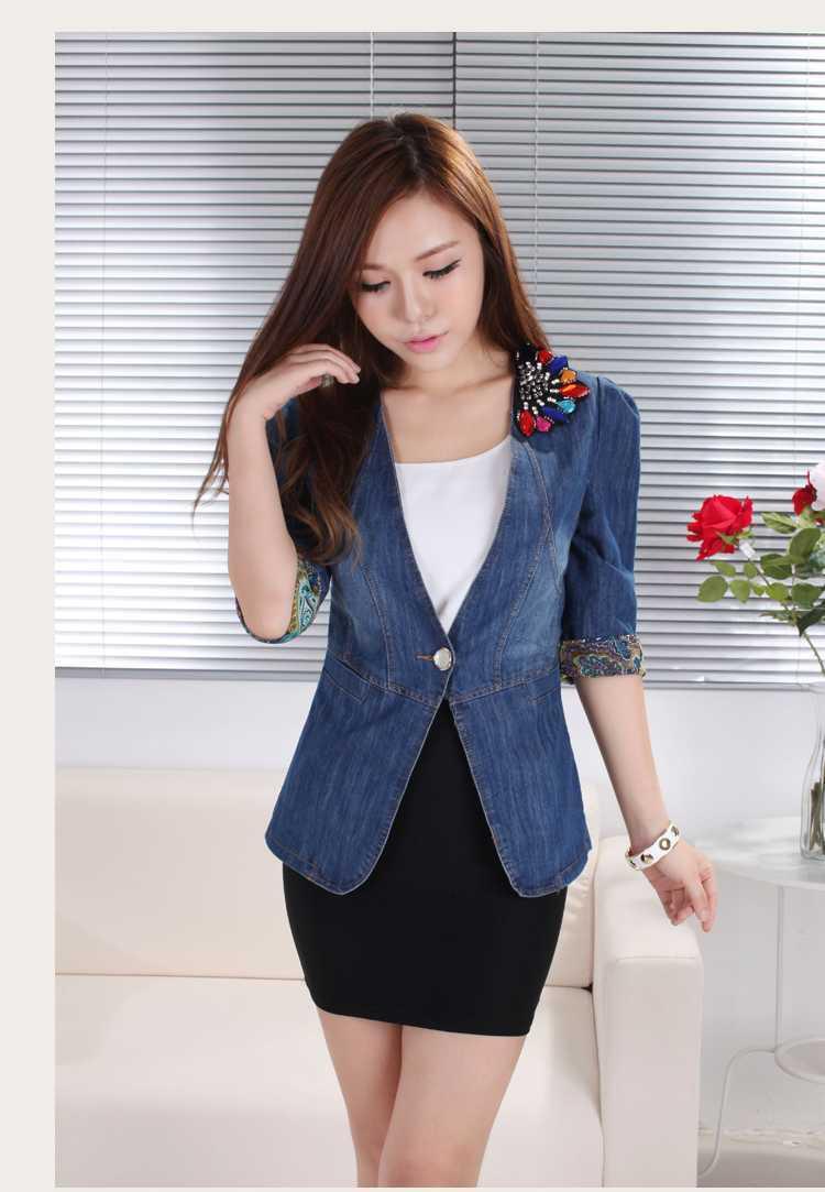 2015 New Women Half Sleeve Rhinestone Denim Jackets Fashion Ladies