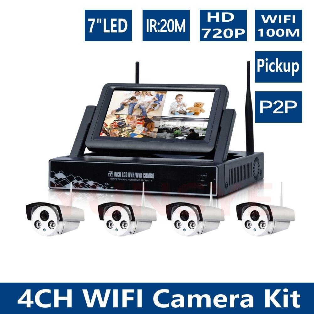 720 p 4CH NVR WiFi kit de vigilancia HD 1MP inalámbrico al aire libre impermeable visión nocturna cámara de seguridad cctv sistema NVR wifi kit 1mp