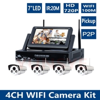 720P 4CH NVR WIFI Surveillance Kit HD 1MP Wireless Outdoor Waterproof Night Vision Security Camera CCTV