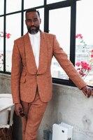 Últimas Bragas de la Capa Diseños Naranja Tweed Mantón de la Solapa de Los Hombres de Traje Formal Slim Fit Terno Chaqueta Prom Personalizado Skinny Hombres Tuxedo 2 Unidades Y