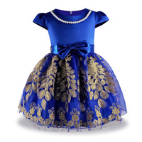 Embroidery Formal Evening Wedding Gown Princess Party Dress Flower Girls Children Kids Dresses For Girl Clothes