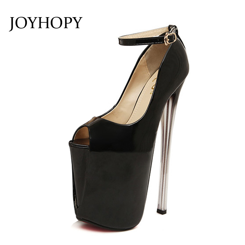 JOYHOPY 20- 22cm Heels Women Pumps Patent Leather Peep Toe Super High Heels Ladies Party Wedding PLus Size 34- 43 Platform Shoes lasyarrow brand shoes women pumps 16cm high heels peep toe platform shoes large size 30 48 ladies gladiator party shoes rm317