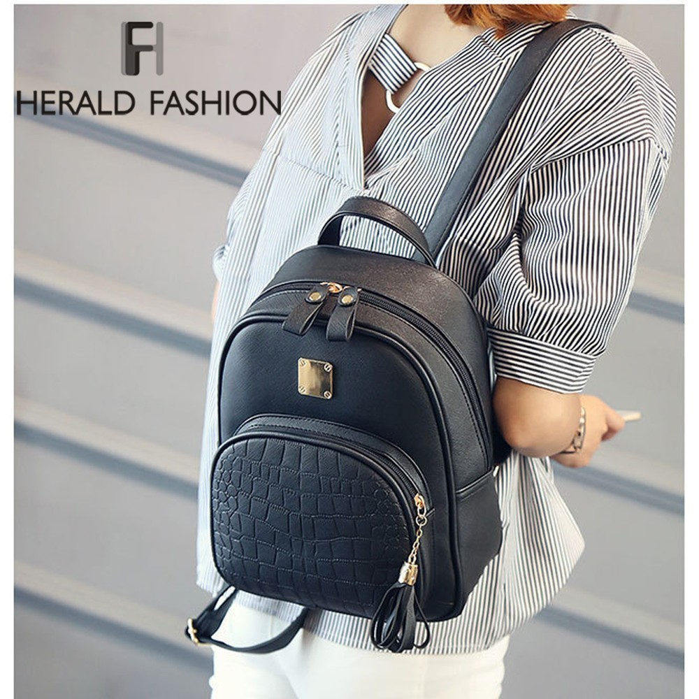 Herald Fashion Women Backpack With Tassel Quality Leather Stone School Bag For Teenager Girls Casual Ladies' Student Bag Mochila