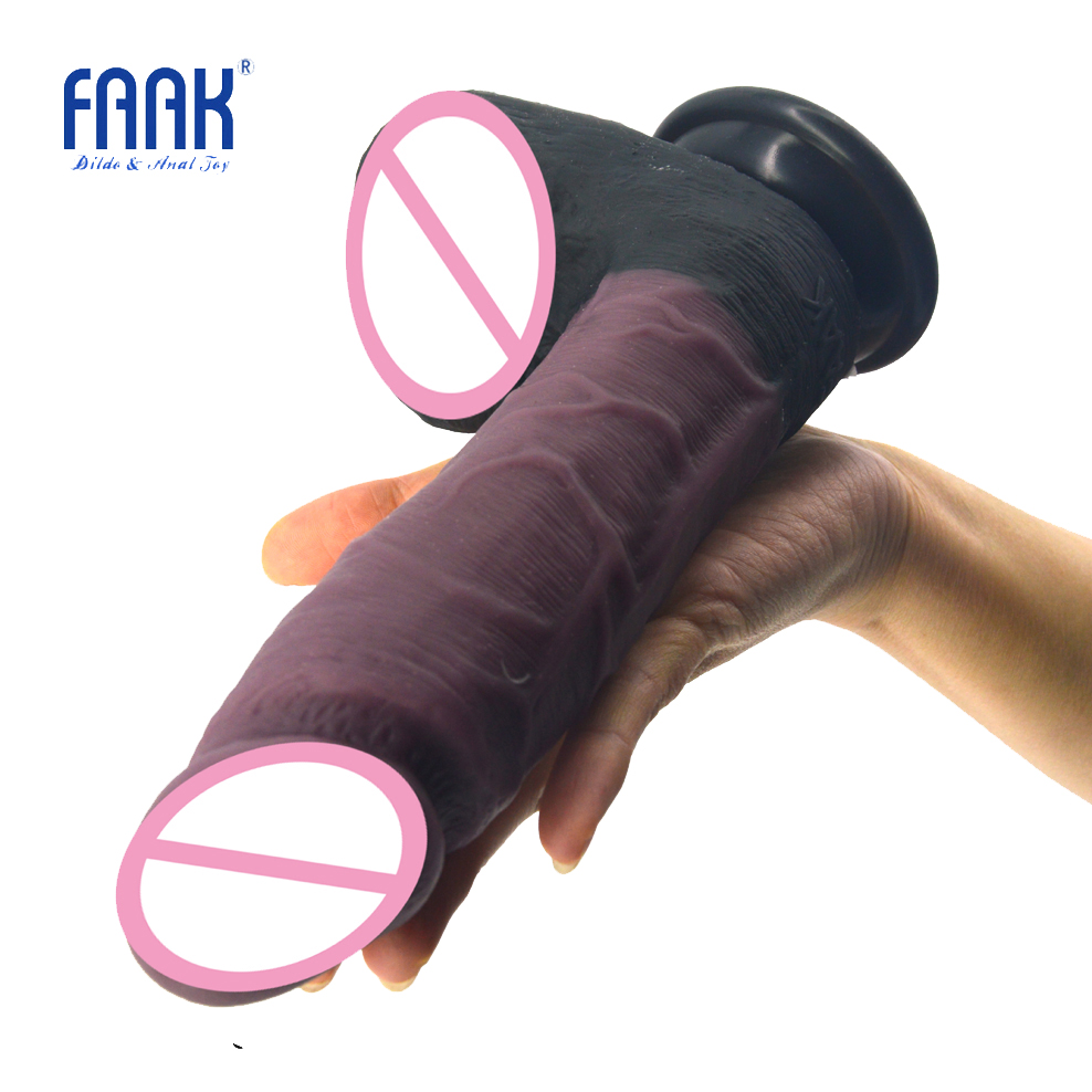 FAAK huge dildo realistic penis silicone sex toys for women stitching color dick lesbian masturbator suction