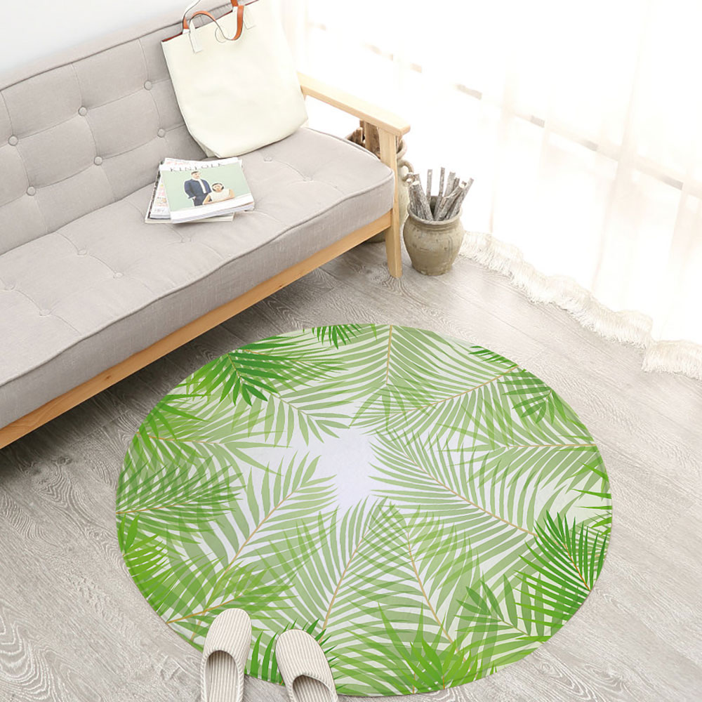... Bedroom Carpet Green Plant Leaves Kids Room Round Rugs Living Room  Doormat Cartoon Carpets Door Floor Mat Color: As The Picture