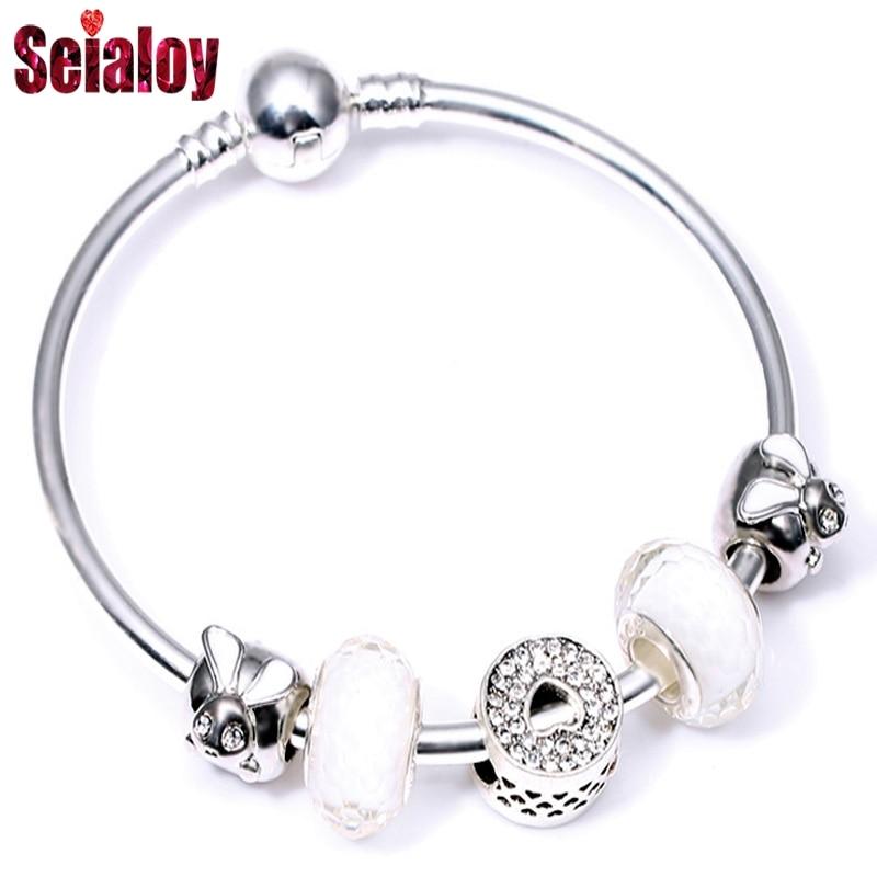SEIALOY Fashion Silver color Cartoon Anime Animal Love Beads Brand Bracelets Bangles For Women Beaded Charm Bangle Jewelry Gift
