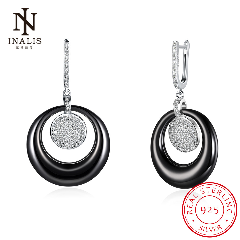 INALIS Fine Jewelry Romantic Fashion 925 Sterling Silver Ceramic Dangle Earrings Crystals Round Drop Earrings for