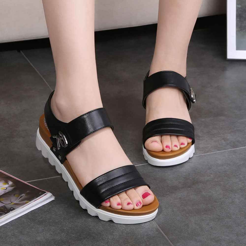 Summer Sandals Women Aged Flat Fashion Sandals Comfortable Ladies Shoes Zapatos Mujer Casual Sandal Artificial Leather Flat new women sandals low heel wedges summer casual single shoes woman sandal fashion soft sandals free shipping